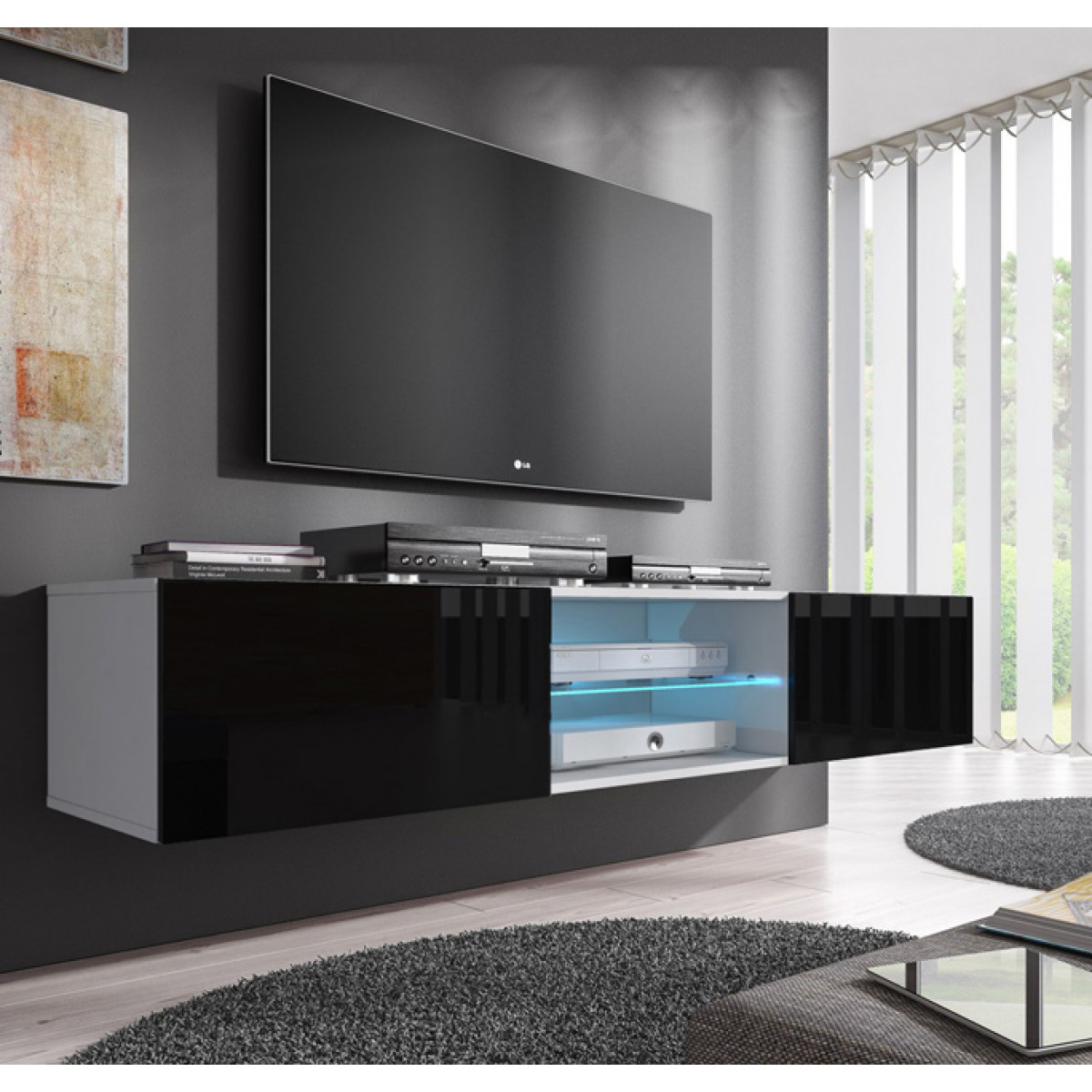 Tv Kast Zwart Wit.Tv Meubel Model Tenon 160 Cm Wit Et Zwart