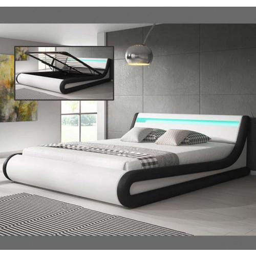 Bed Patricia wit en zwart - Bedden zonder matras - Slaapkamer