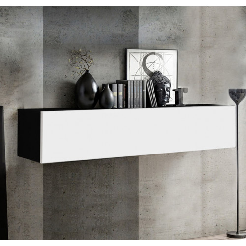 mueble tv kaira h150 negro blanco