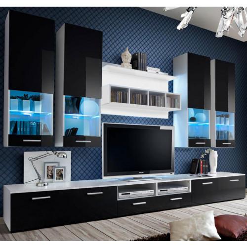 mueble salon aviona blanco negro