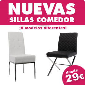 Nuevos modelos de sillas de comedor, sillas de diseño moderno y actual, ¡desde 29€!